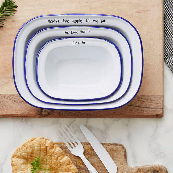 Personalised Message Enamel Pie Dish Set