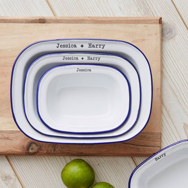 Enamel Personalised Couples Pie Dish Set