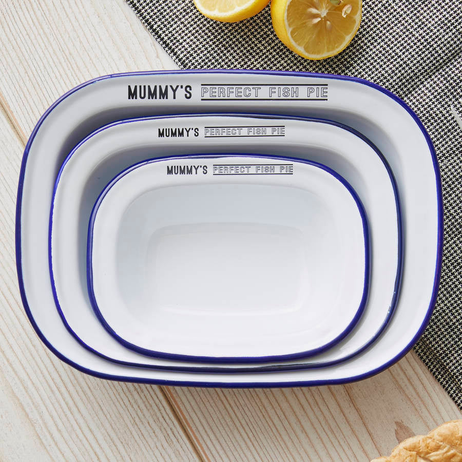Personalised Enamel Pie Dish Gift Set For Her