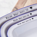 Personalised 'World's Okayest Chef' Enamel Pie Dish
