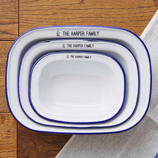Personalised Family Enamel Pie Dish Set