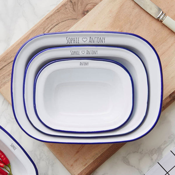 Personalised Couples Enamel Pie Dish Gift Set