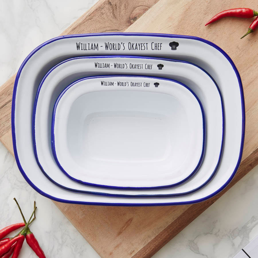 Personalised 'World's Okayest Chef' Enamel Pie Dish Set