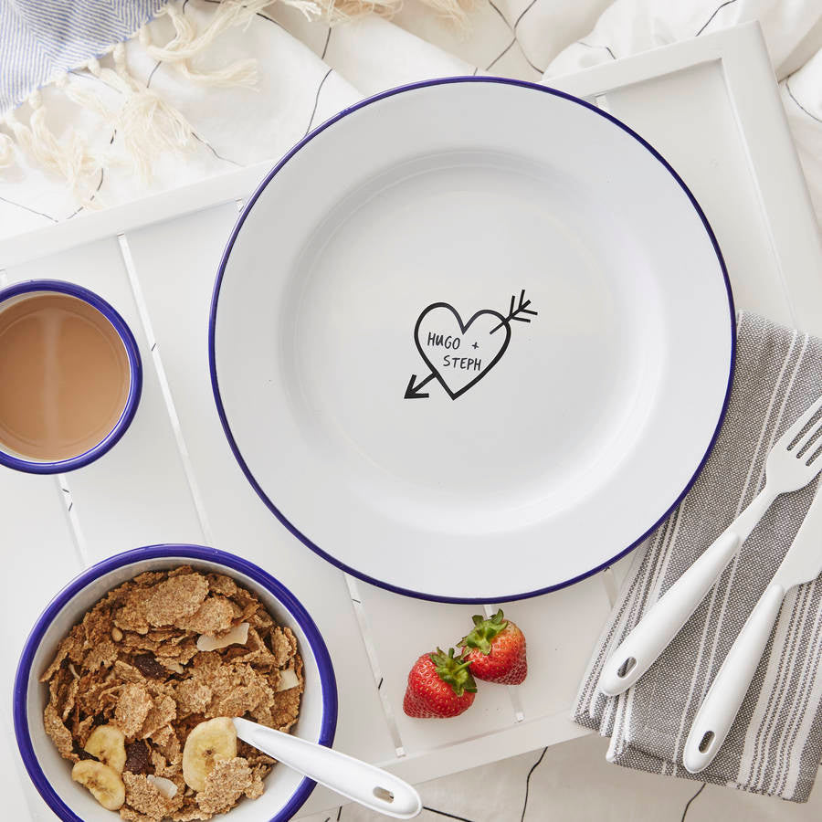 Personalised Carved Heart Enamel Plate