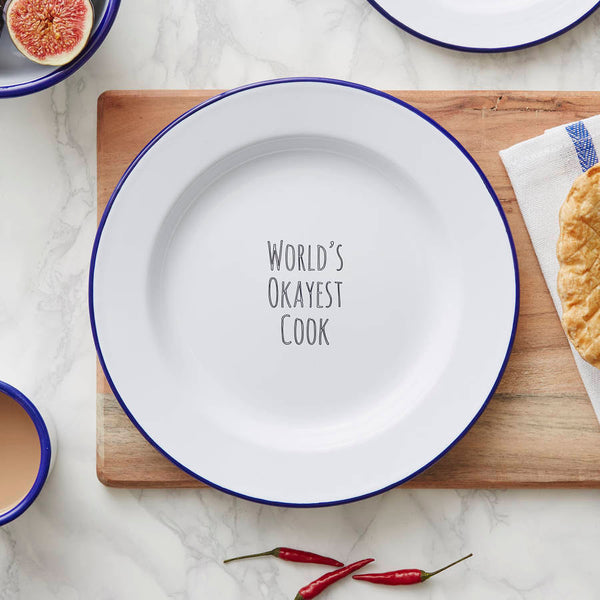 Personalised 'World's Okayest Cook' Enamel Plate