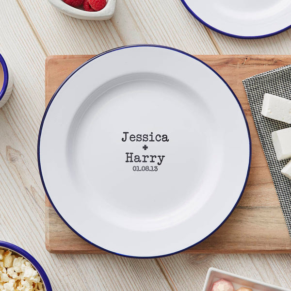 Enamel Personalised Couples Plate