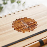 Personalised Badge Wooden Notebook Set For Him