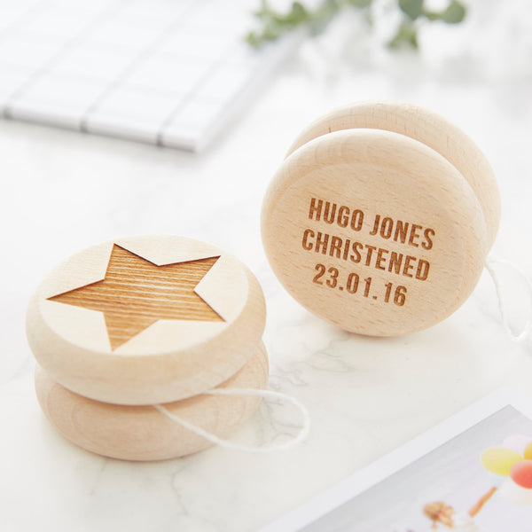 Personalised Christening Keepsake Star Wooden Yoyo