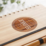 Personalised Badge Wooden Notebook Set For Her