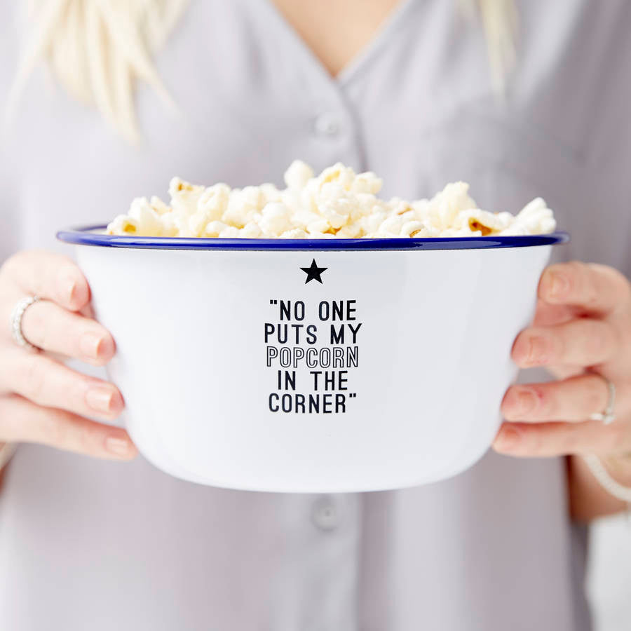 Personalised Movie Quote Enamel Popcorn Bowl