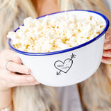 Carved Heart Enamel Personalised Popcorn Bowl
