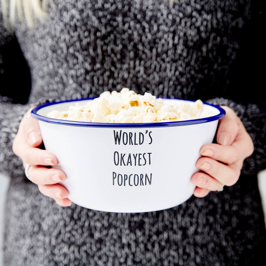 Personalised Message Enamel Popcorn Bowl