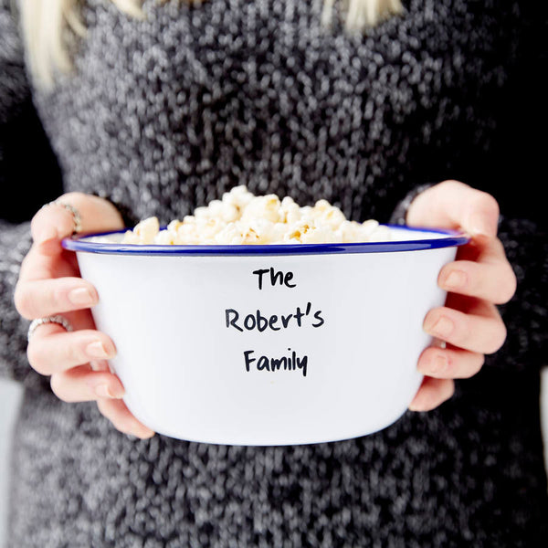 Personalised Family Enamel Popcorn Bowl