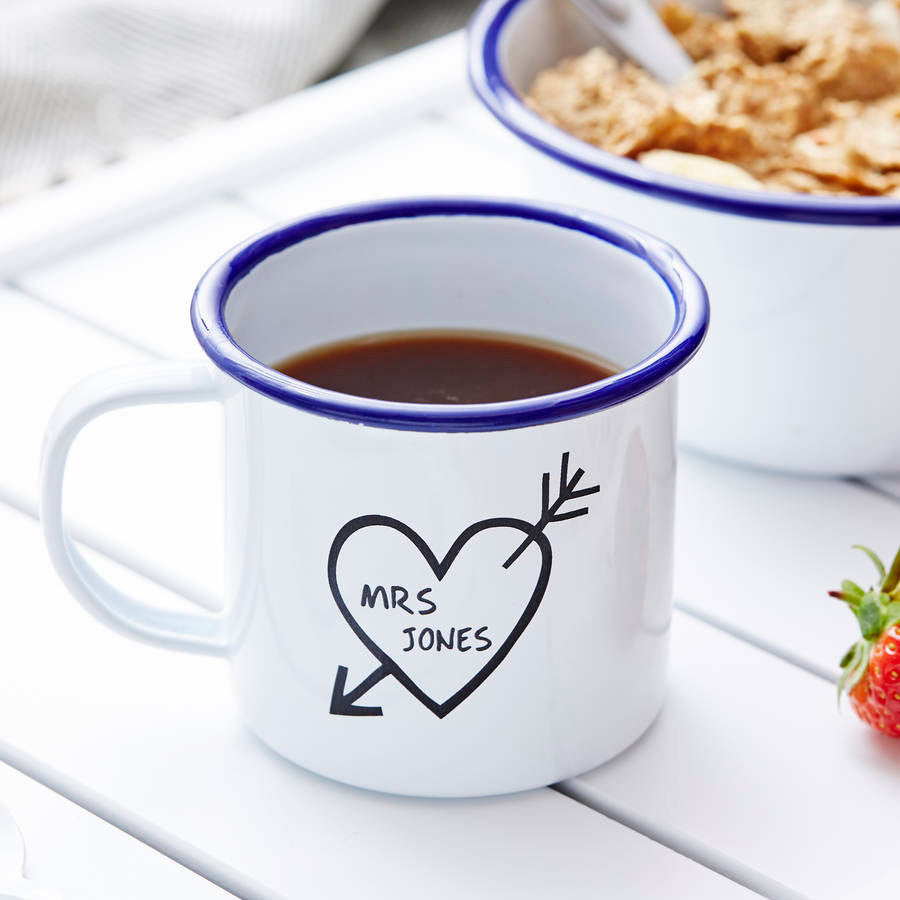 Carved Heart Enamel Personalised Mug