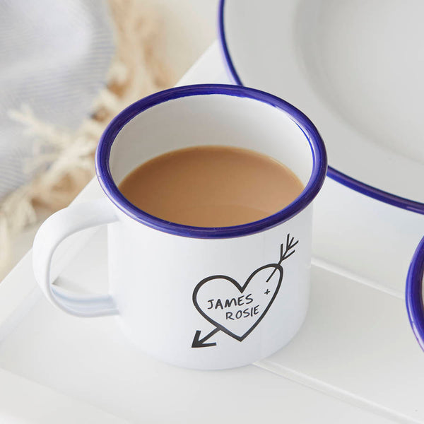 Couples Carved Heart Enamel Personalised Mug