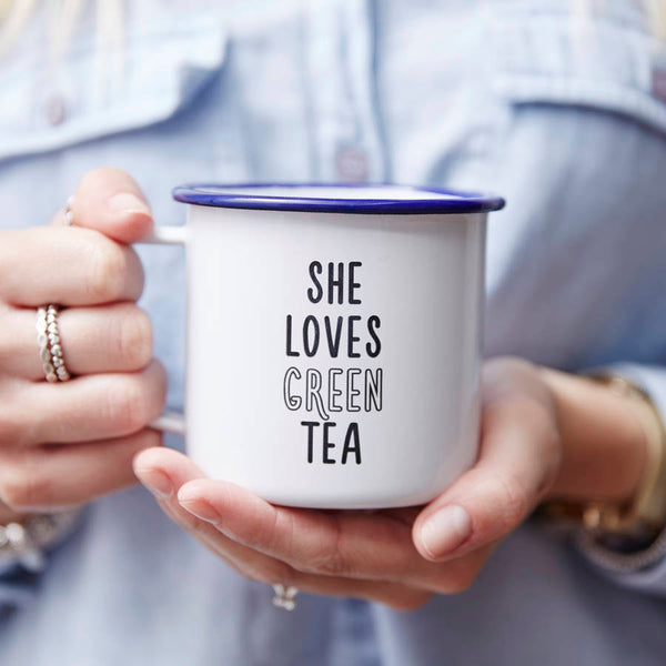 Enamel She Loves Personalised Mug