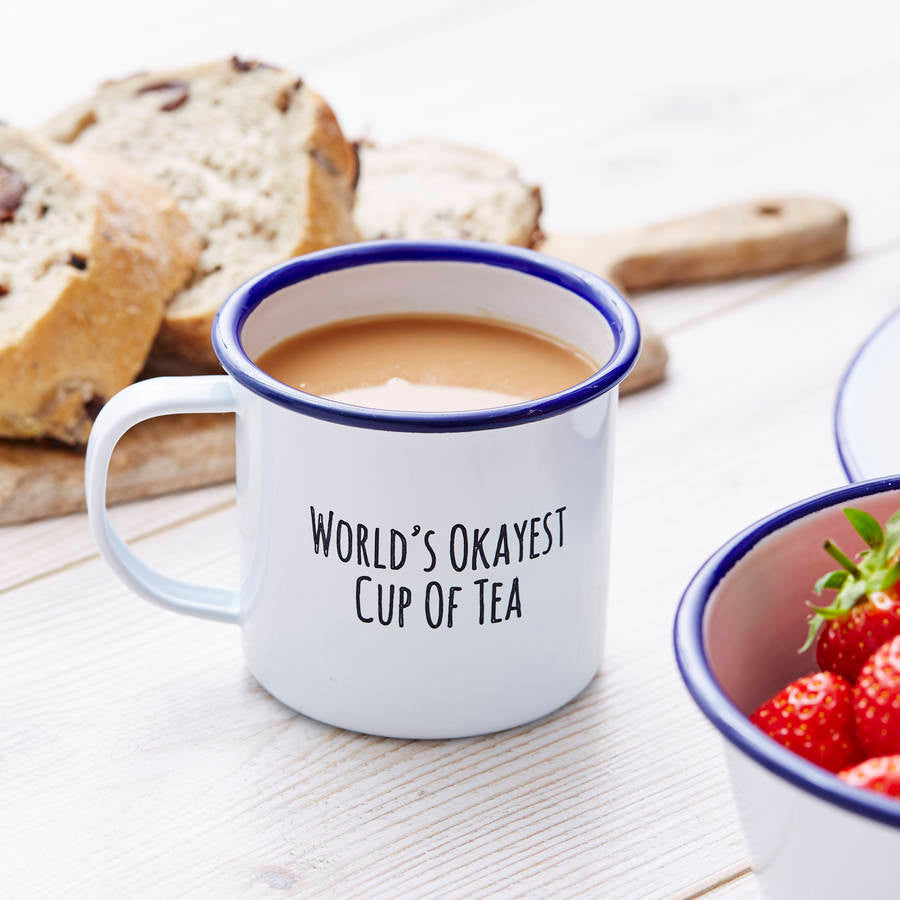 Enamel Personalised 'Cup Of 'Tea' Mug