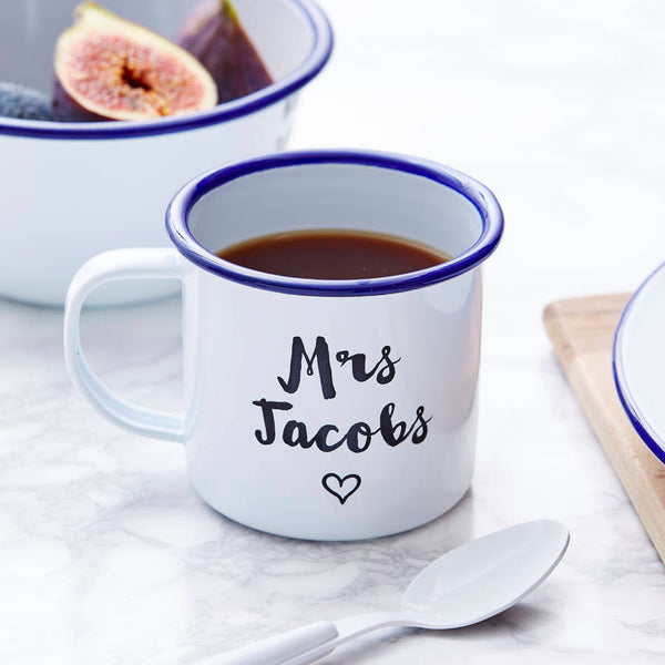 Enamel Personalised Heart Wedding Mug