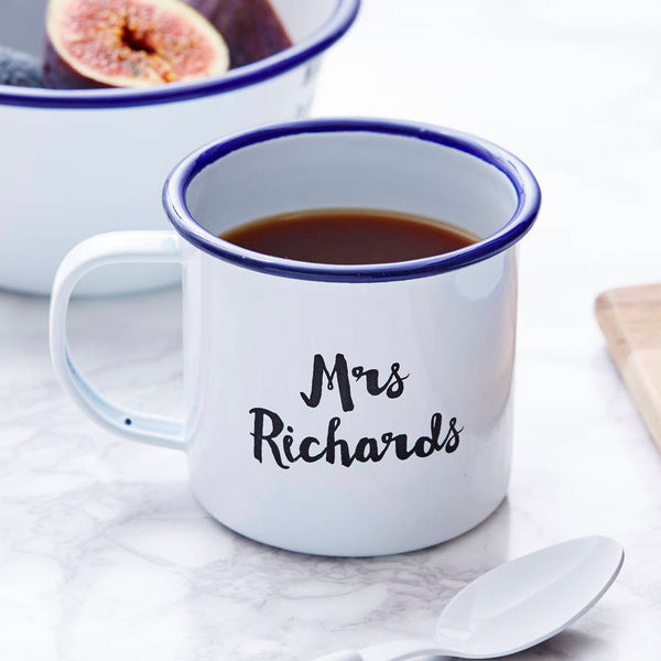 Enamel Personalised Mr And Mrs Mug