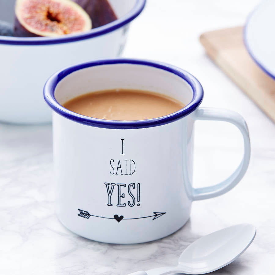 Enamel Personalised Engagement Mug
