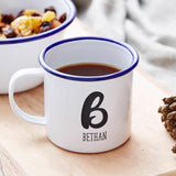 Personalised Brushstroke Monogram Enamel Mug