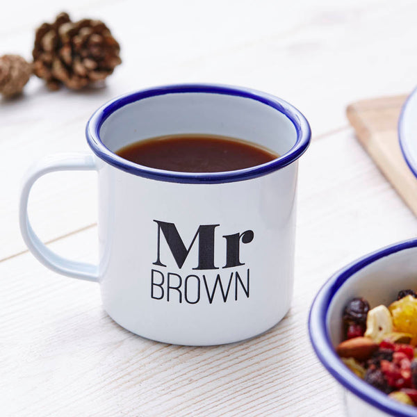 Personalised Enamel Mr And Mrs Mug