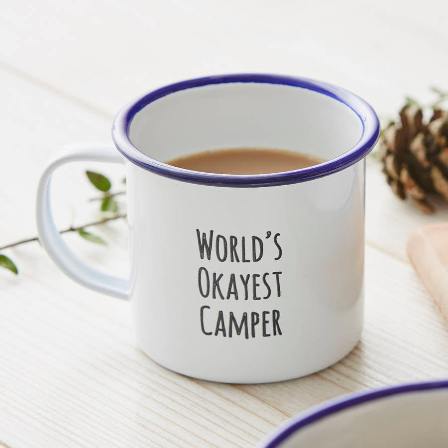 Personalised 'World's Okayest Camper' Mug