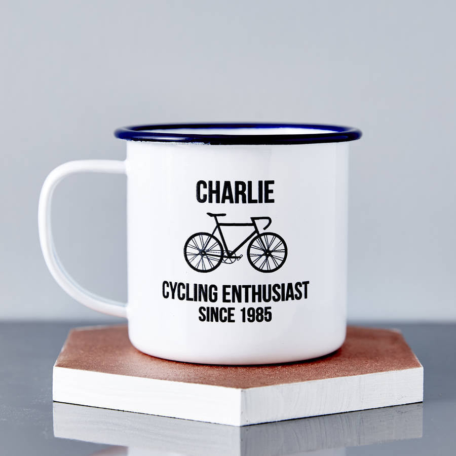 Personalised Bike Enamel Mug