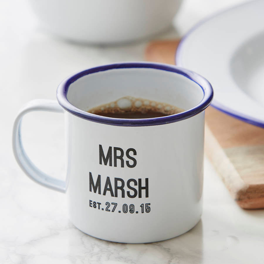 Personalised Wedding Enamel Mug