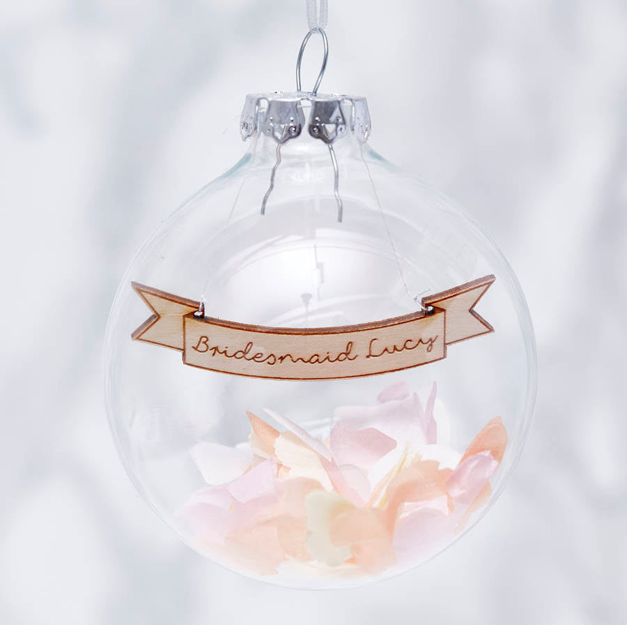 Personalised Bridesmaid Confetti Bauble