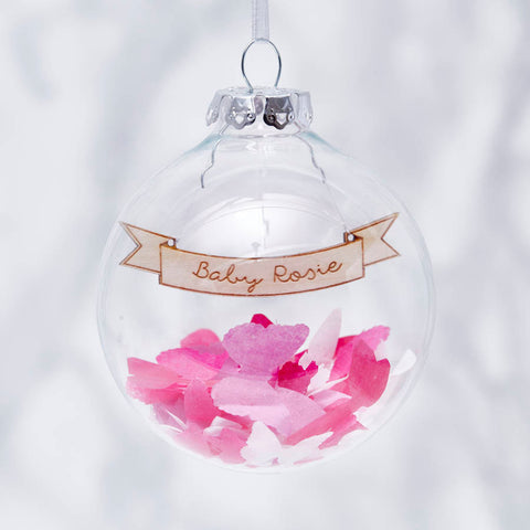 Baby's Personalised Confetti Christmas Bauble