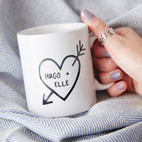 Couples Carved Heart Personalised Mug
