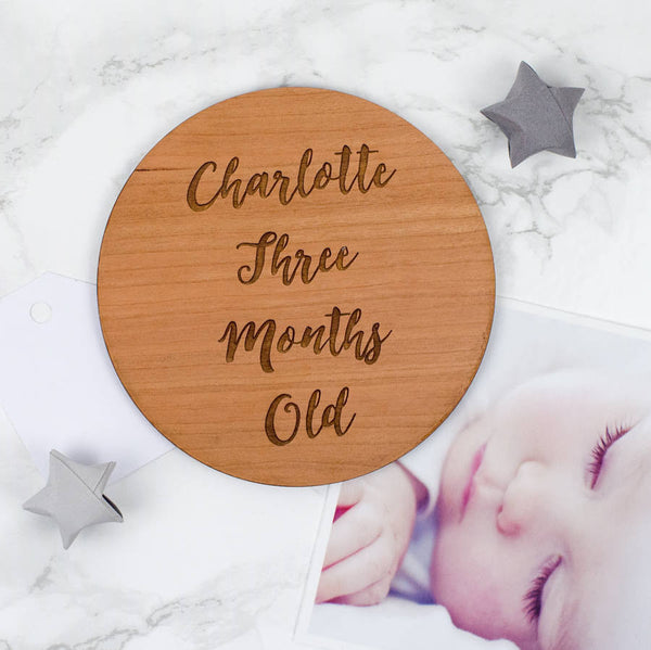 Wooden Personalised Baby Milestone Cards
