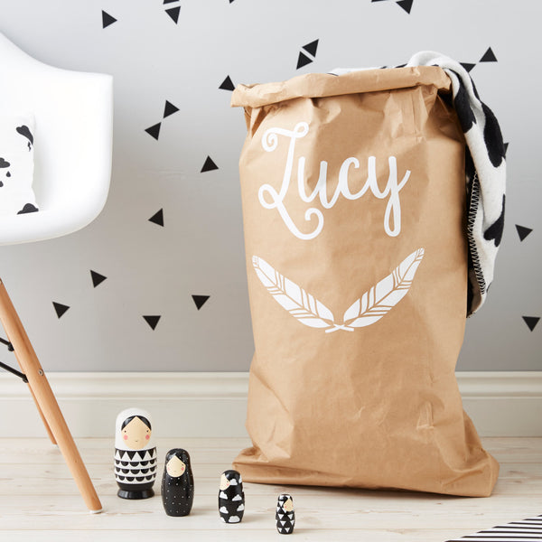 Personalised Feather Children's Storage Sack