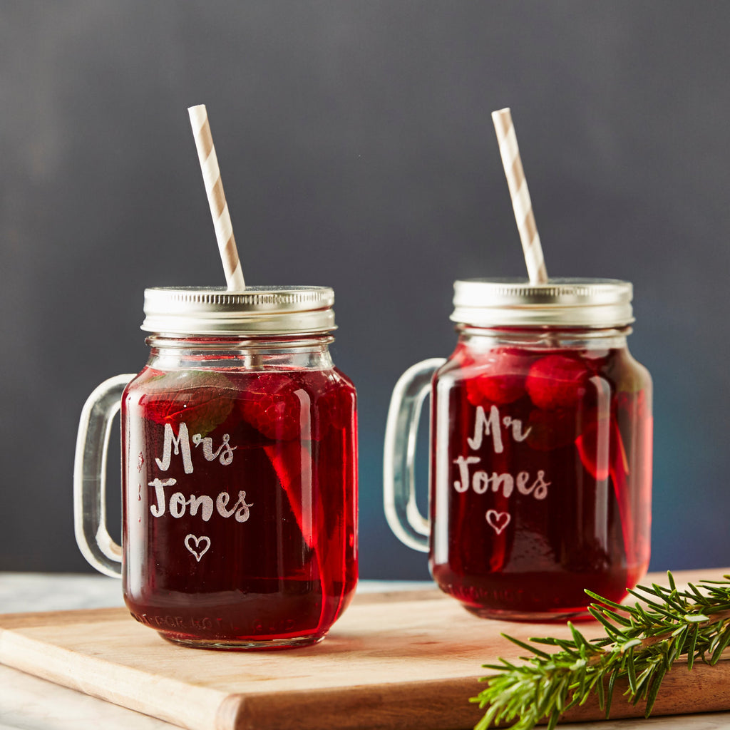 Personalised Heart Wedding Mason Jar