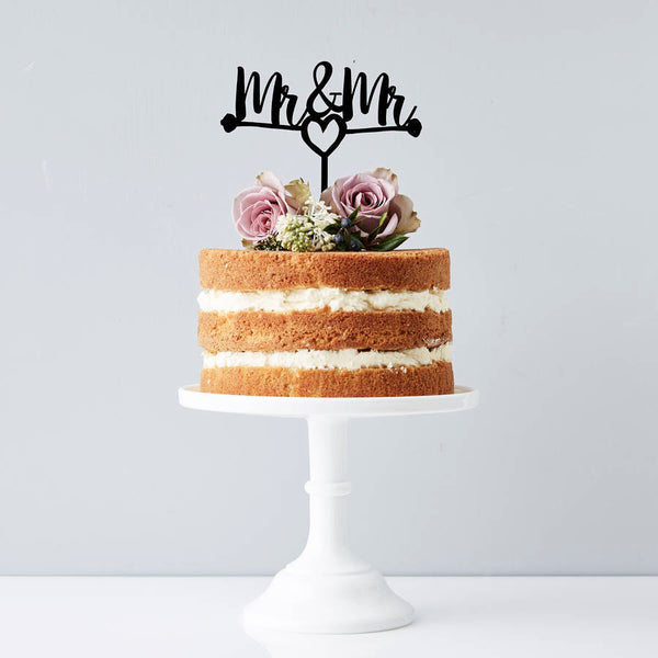 Mr And Mr Heart Wedding Cake Topper