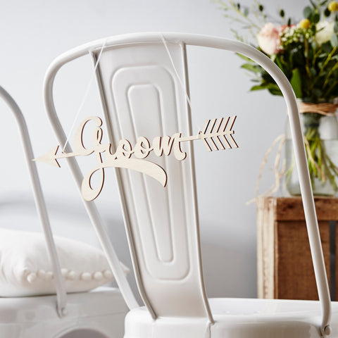 Personalised Wooden Arrow Chair Sign