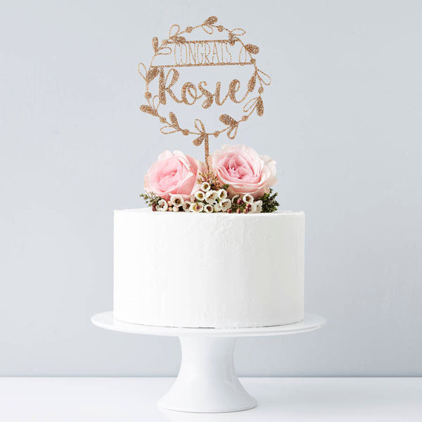 Personalised Congratulations Floral Cake Topper