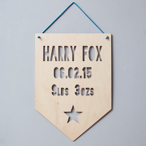 Personalised Baby Keepsake Star Hanging Wooden Flag