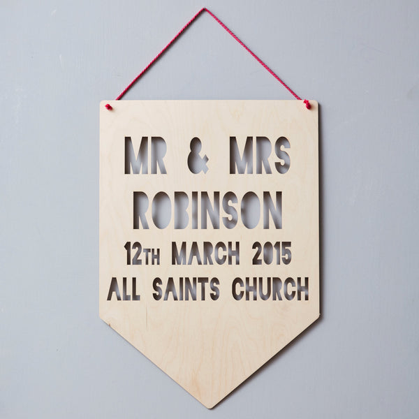 Personalised Wedding Keepsake Hanging Wooden Flag