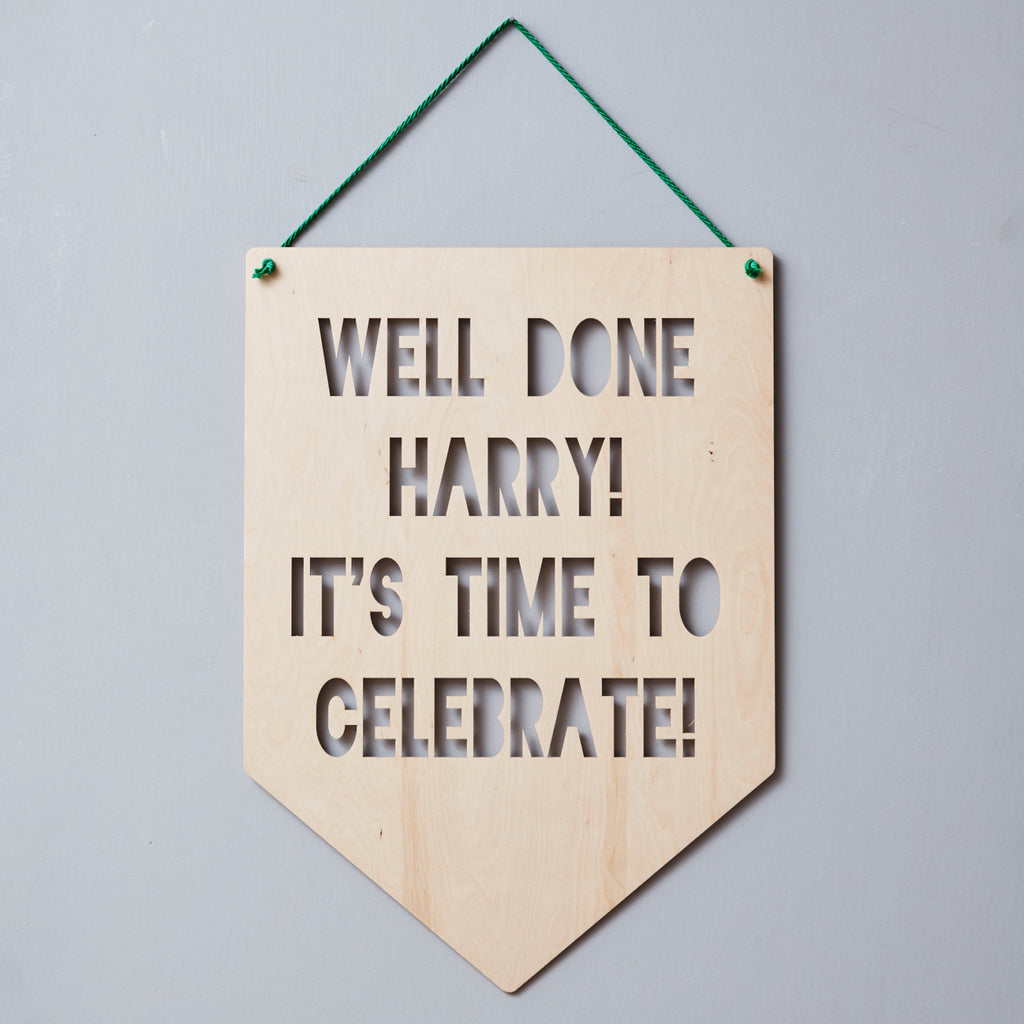 Personalised Congratulations Hanging Wooden Flag