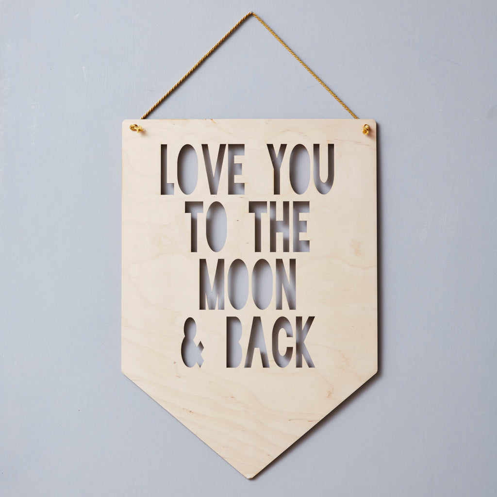 Personalised 'To The Moon And Back' Hanging Wooden Flag