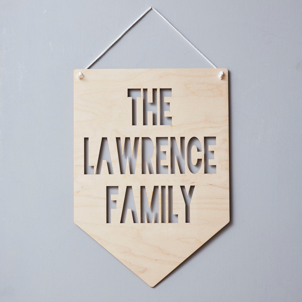 Personalised Family Hanging Wooden Flag