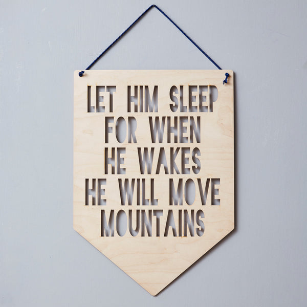 Personalised 'Move Mountains' Hanging Wooden Flag