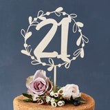Personalised Floral Number Birthday Wooden Cake Topper