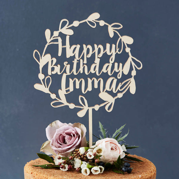 Personalised Floral Birthday Wooden Cake Topper