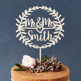 Personalised Laurel Wooden Wedding Cake Topper