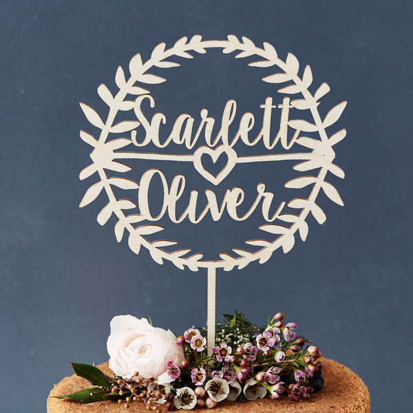 Personalised Laurel Couples Wooden Cake Topper
