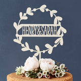 Personalised Floral Couples Wooden Cake Topper