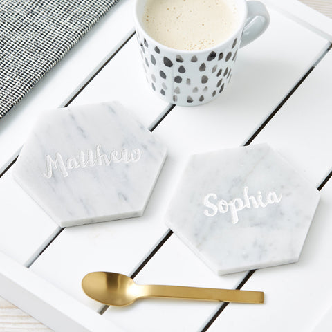 Personalised Hexagonal Marble Coaster